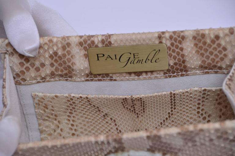 Paige Gamble Beige Snake Skin  Clutch Evening Handbag 4