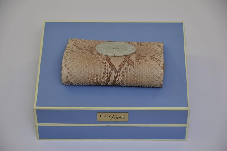 Paige Gamble Beige Snake Skin  Clutch Evening Handbag 6