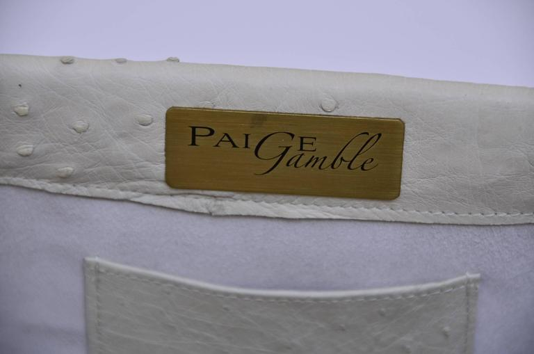 Paige Gamble Beige Large Ostrich Clutch Evening Handbag 3