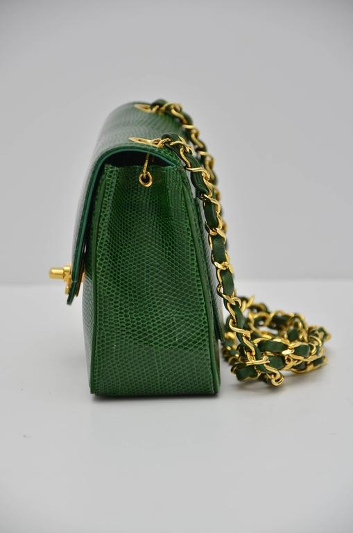 Chanel Rare Vintage Emerald Green Lizard Mini Handbag Excellent In Condition For Hollywood
