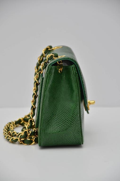 Women's CHANEL Rare Vintage  Emerald Green Lizard Mini Handbag  Excellent For Sale