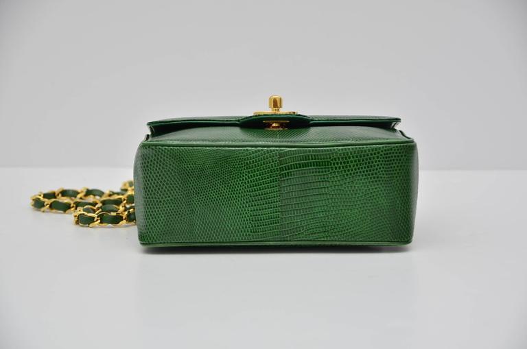 CHANEL Rare Vintage  Emerald Green Lizard Mini Handbag  Excellent For Sale 1