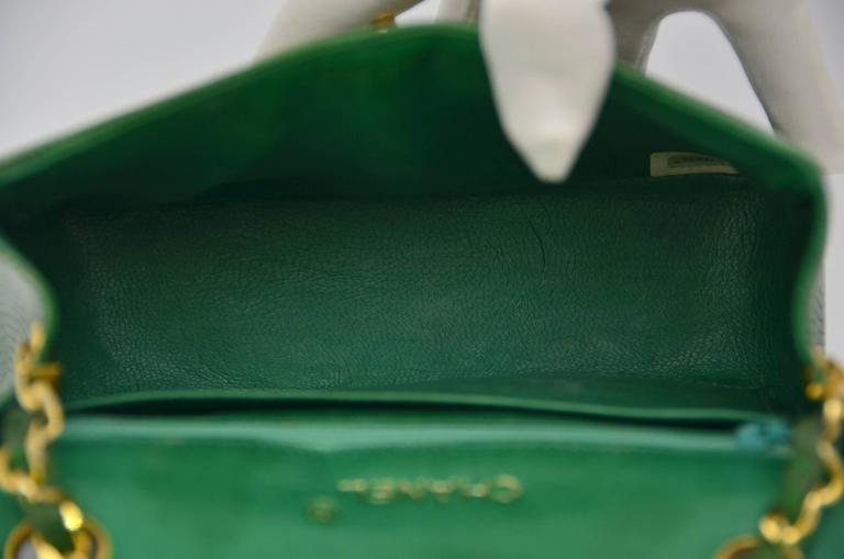 CHANEL Rare Vintage  Emerald Green Lizard Mini Handbag  Excellent For Sale 2