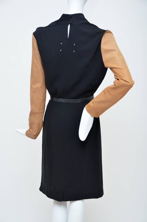 Maison Martin Margiela Black Dress with Tan Leather Sleeves.