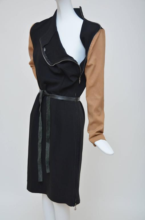 Maison Martin Margiela  2011 Black Dress with Tan Leather Sleeves   In Excellent Condition For Sale In Hollywood, FL