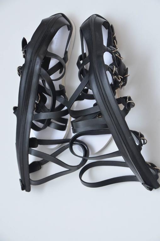 Women's or Men's Balenciaga Black Leather Gladiator Sandals   For Sale