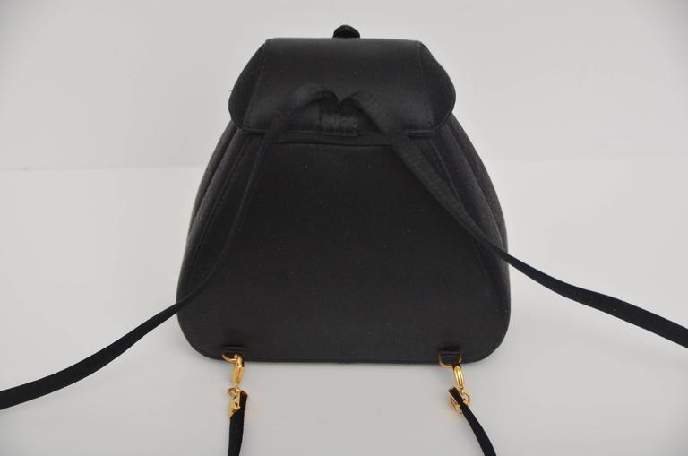 Gucci Super Cute And Super Rare Black Satin Mini Backpack Handbag Mint 3