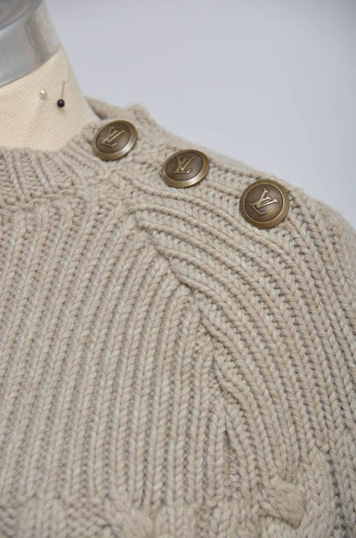 Louis Vuitton Wool Cape Cable Knit Poncho   In Excellent Condition For Sale In Hollywood, FL