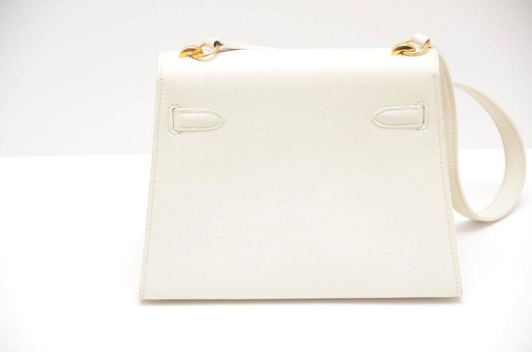 Gray HERMES Super Rare White Mini Kelly  Gold Hardware 20 CM Veau Gulliver Leather For Sale