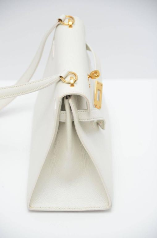 HERMES Super Rare White Mini Kelly  Gold Hardware 20 CM Veau Gulliver Leather 5