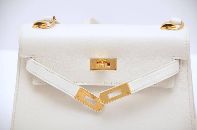 HERMES Super Rare White Mini Kelly  Gold Hardware 20 CM Veau Gulliver Leather For Sale 2