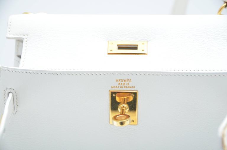 HERMES Super Rare White Mini Kelly  Gold Hardware 20 CM Veau Gulliver Leather For Sale 4