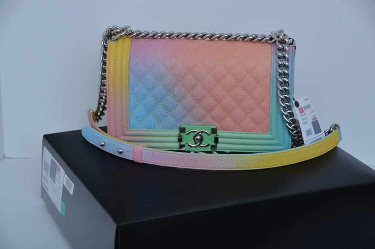 4832a6f6c9768b Chanel Rainbow Cuba Boy Handbag Medium '17 Crossbody NEW Sold Out For Sale 2