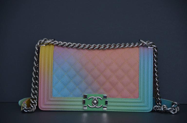 dbd030740ecd Chanel Rainbow Cuba Boy Handbag Medium  17 Crossbody NEW Sold Out For Sale 3