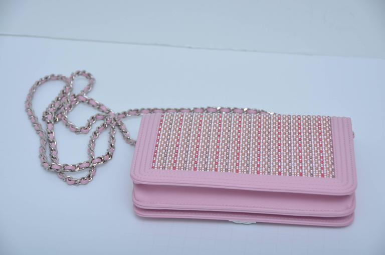 Rare Baby Pink CHANEL  Vallet On Chain Sparkling Embellishments Crystals  NEW 5