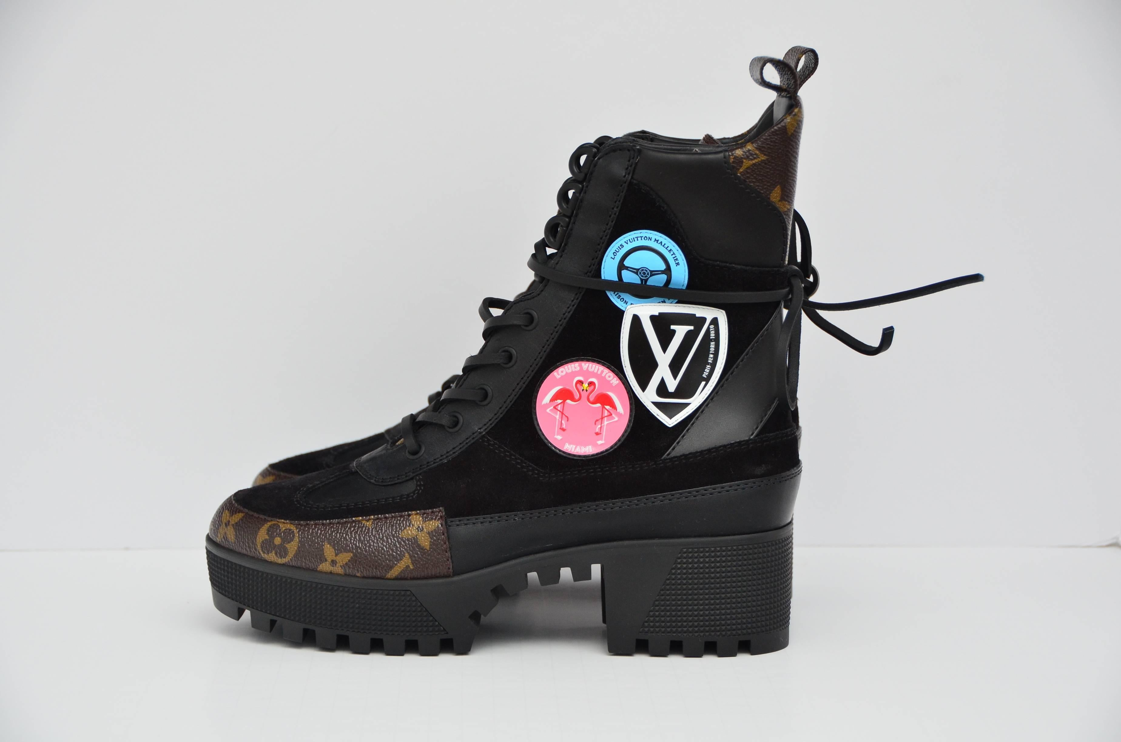 4b8a535a8127 Louis Vuitton Checkpoint Platform Combat Desert Boot NEW 39 For Sale at  1stdibs