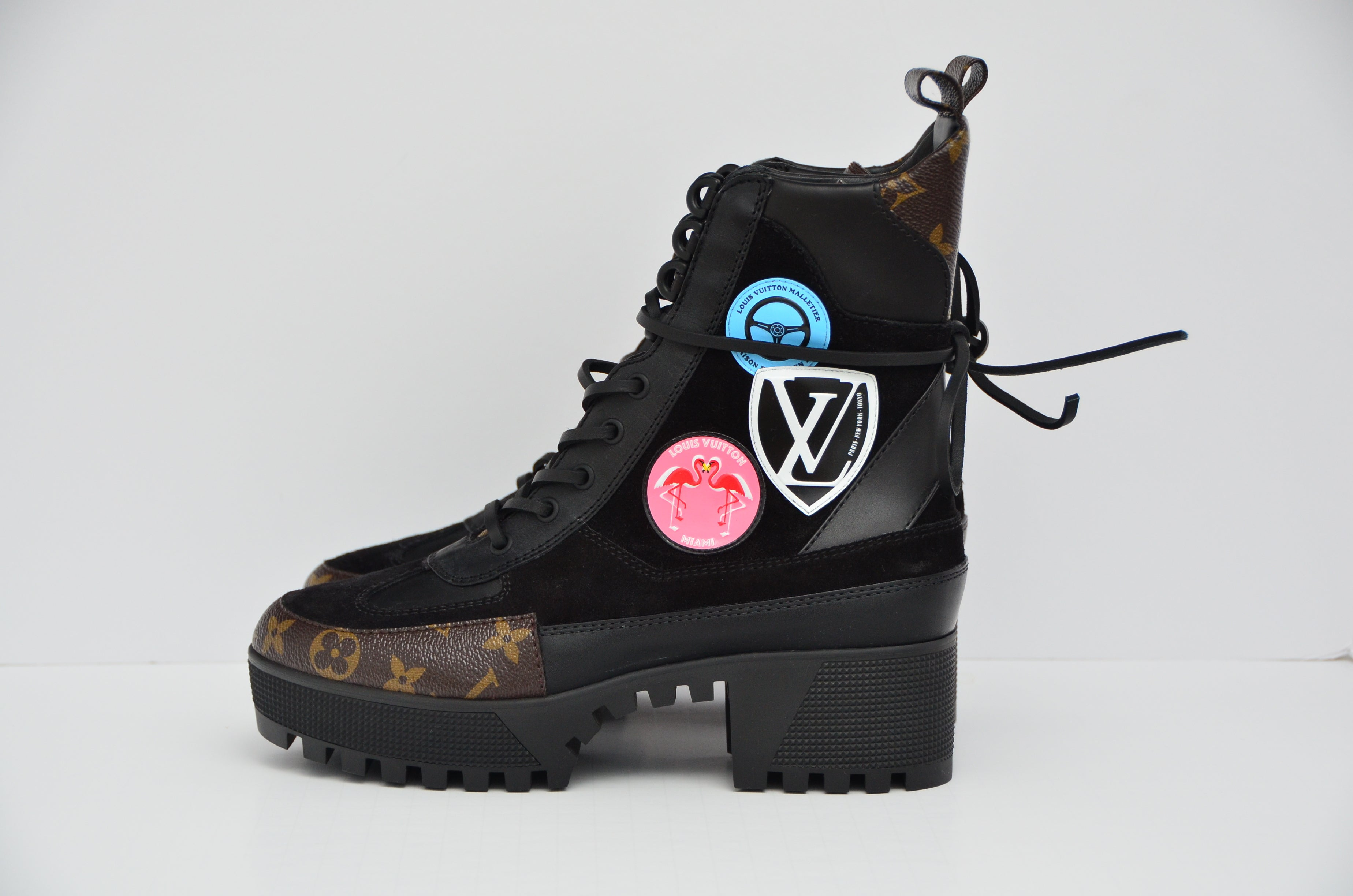 32250079fcde Louis Vuitton Checkpoint Platform Combat Desert Boot NEW 39 For Sale at  1stdibs