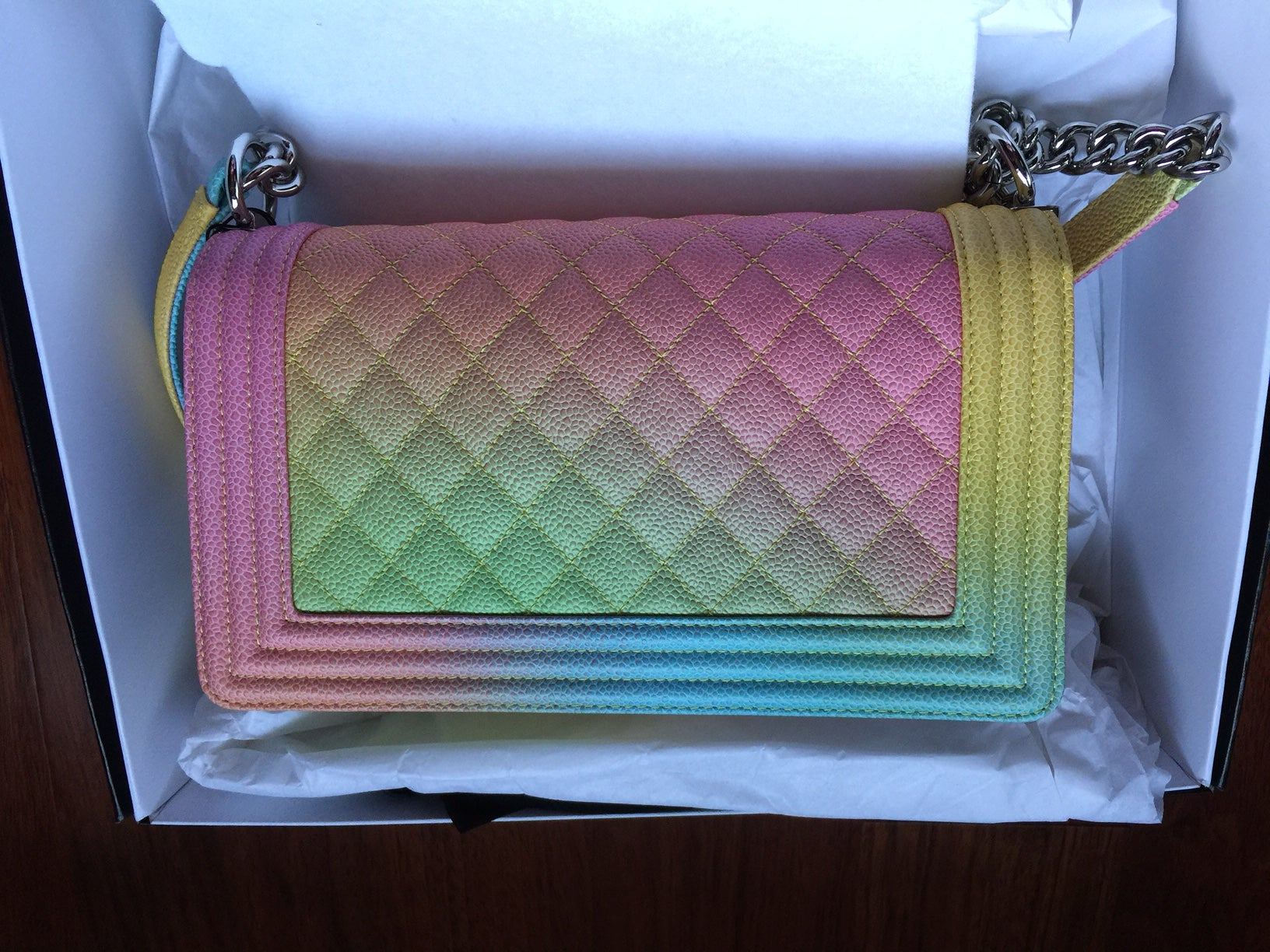 db65fd91f1542b Chanel Rainbow Chanel Boy Handbag Medium '17 Crossbody NEW Sold Out For Sale  at 1stdibs