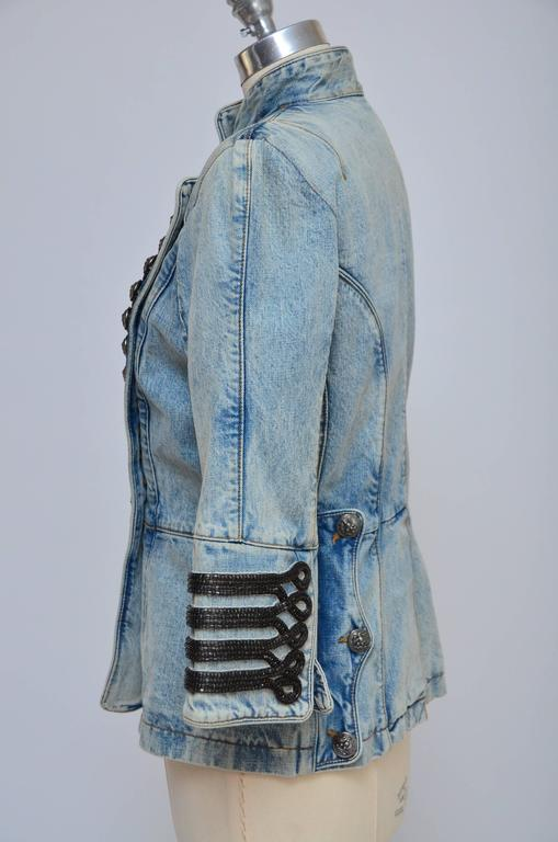 Blue Rare Balmain Spring 2009 RTW Military Style Denim Jacket  New 42 FR For Sale