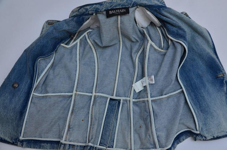 Rare Balmain Spring 2009 RTW Military Style Denim Jacket  New 42 FR 7