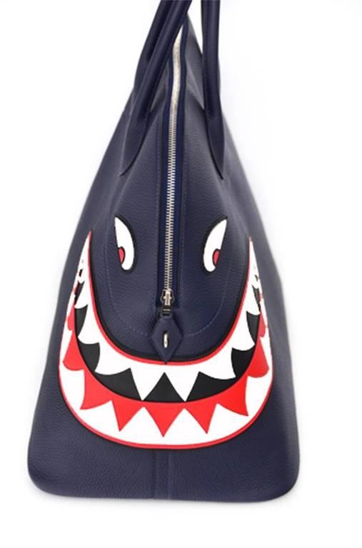 Hermes Limited Edition Shark Bolide 45  Handbag Bleu INDIGO UNISEX   NEW  4