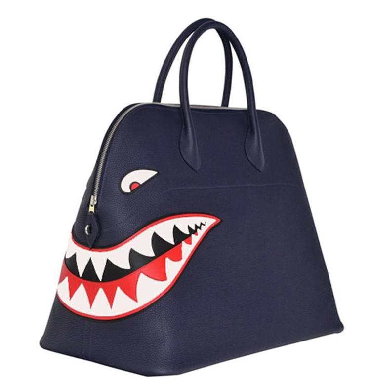 Hermes Limited Edition Shark Bolide 45  Handbag Bleu INDIGO UNISEX   NEW  2
