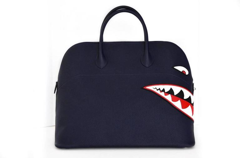 Hermes Limited Edition Shark Bolide 45  Handbag Bleu INDIGO UNISEX   NEW  3