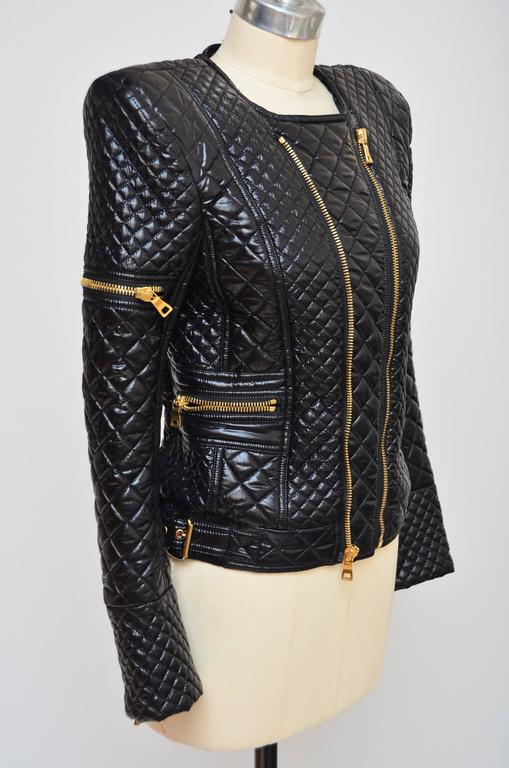 BALMAIN Black Quilted Techno Jacket Similar Seen On Beyonce And Nicki Minaj 40 In New Never_worn Condition For Sale In Hollywood, FL