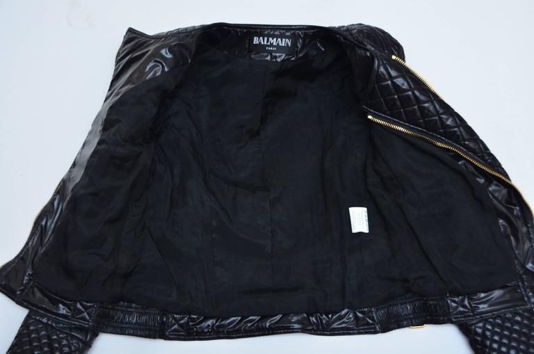 Women's or Men's BALMAIN Black Quilted Techno Jacket Similar Seen On Beyonce And Nicki Minaj 40 For Sale