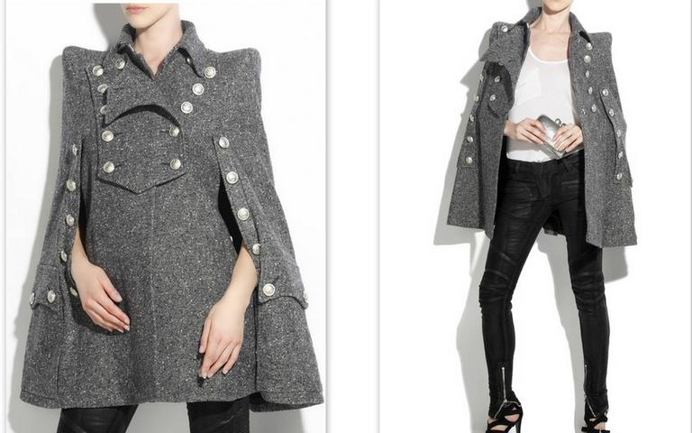 BALMAIN Tweed Military Cape 38 Mint For Sale at 1stdibs