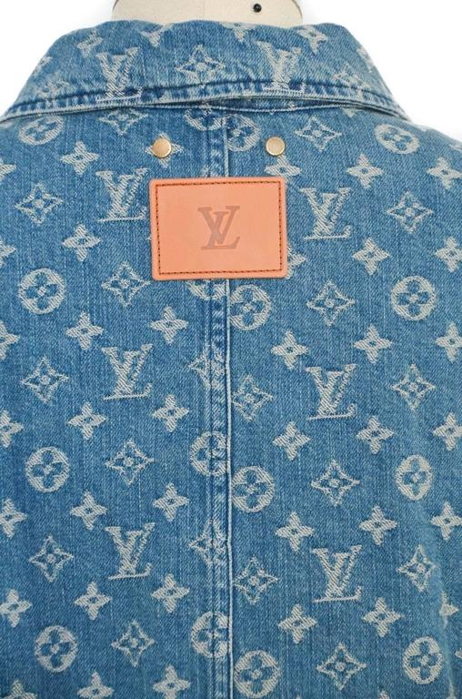 louis vuitton x supreme denim barn jacket monogram size 52 nwt limited for sale at 1stdibs