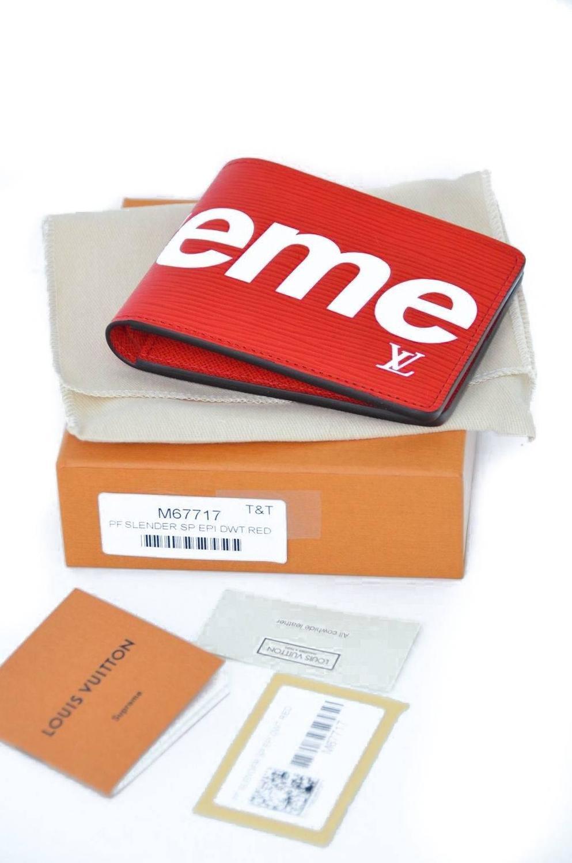 fa92905faf7c Louis Vuitton x Supreme Slender Red Epi Wallet NEW at 1stdibs