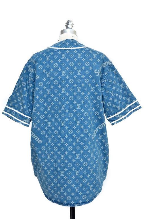 bf559baaee553e Blue Supreme x Louis Vuitton LV All Over Monogram Denim Baseball Jersey Sz  Medium For Sale