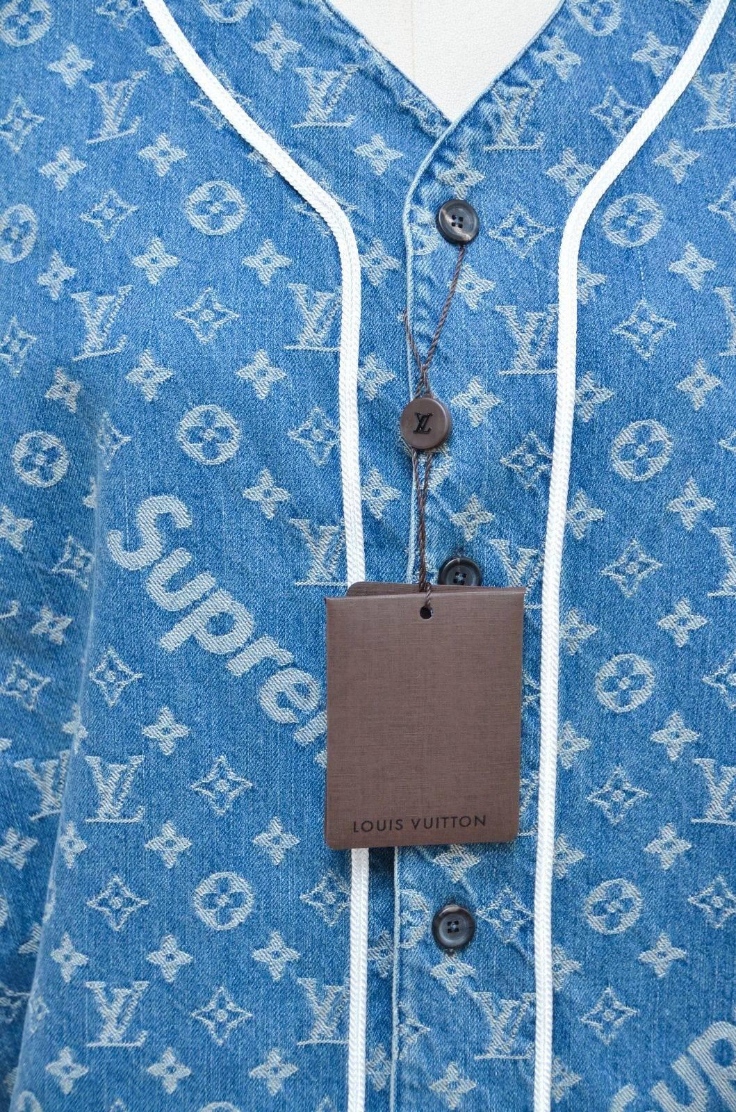 009967cc5100c3 Supreme x Louis Vuitton LV All Over Monogram Denim Baseball Jersey Sz Medium  For Sale at 1stdibs