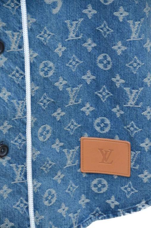 a94c491a68c524 Women's or Men's Supreme x Louis Vuitton LV All Over Monogram Denim  Baseball Jersey Sz Medium