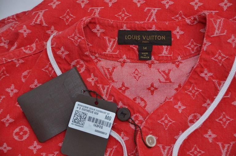 15945c6f51d342 Supreme x Louis Vuitton All Over Monogram Denim Baseball Jersey Red Sz  Medium In New Condition