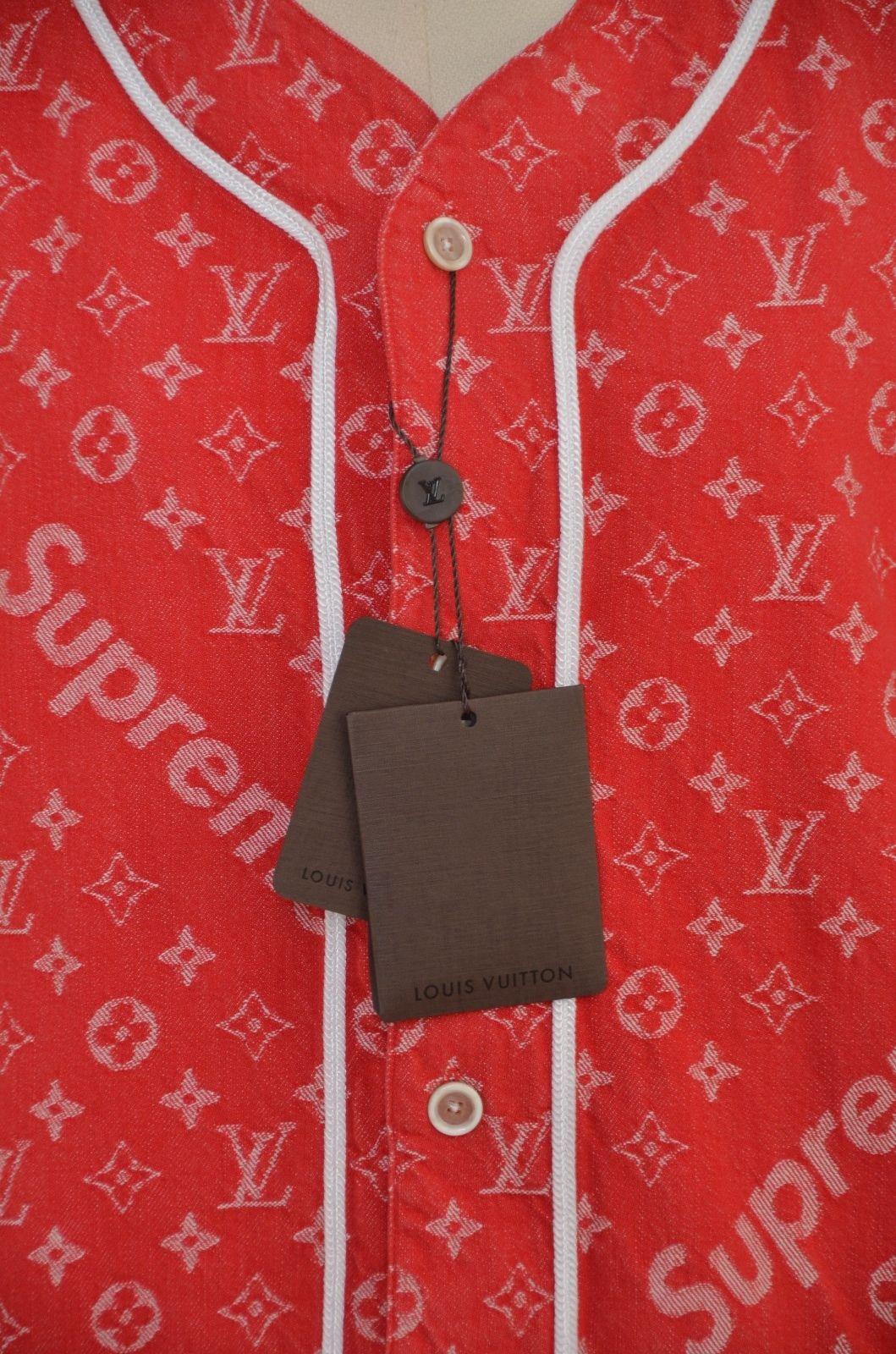 772b30d362d1cb Supreme x Louis Vuitton All Over Monogram Denim Baseball Jersey Red Sz  Medium For Sale at 1stdibs