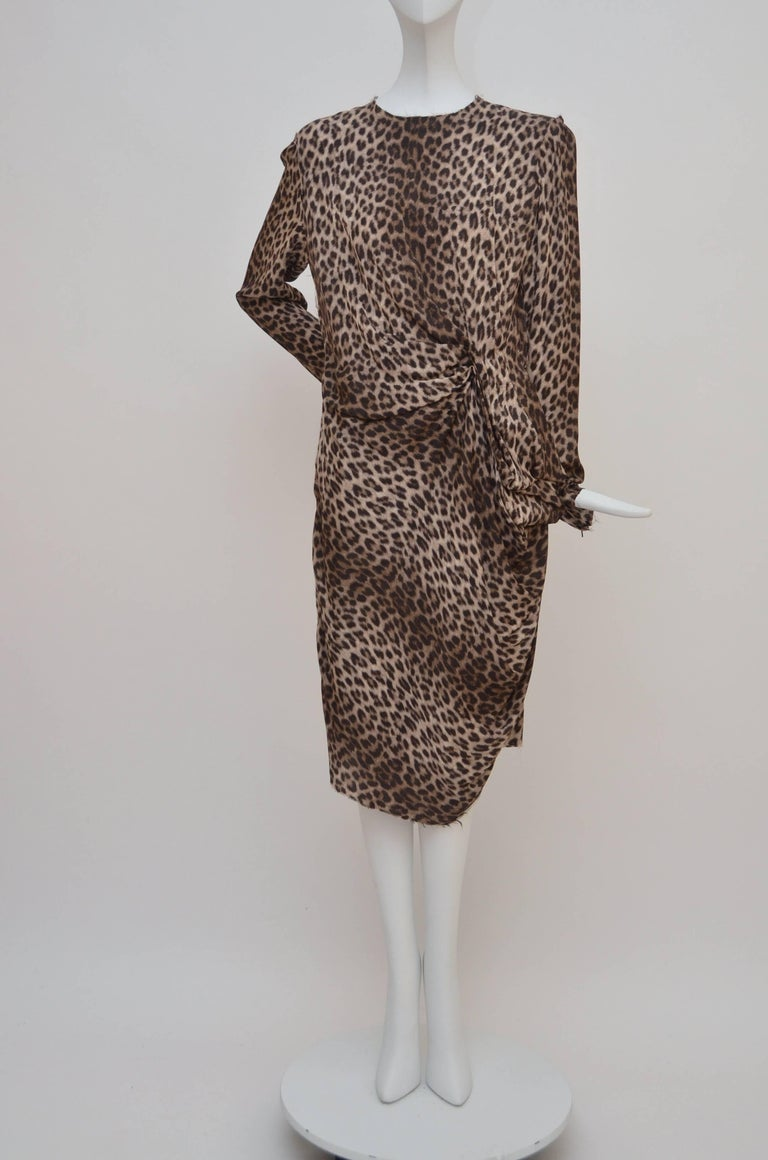 Gray Lanvin Hiver Pre-Fall 2010 Long Sleeved Leopard Print Cocktail Dress New 40 For Sale