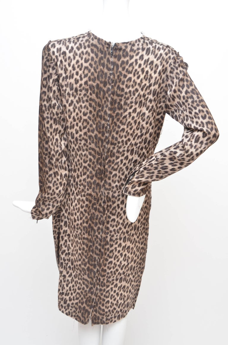 Lanvin Hiver Pre-Fall 2010 Long Sleeved Leopard Print Cocktail Dress New 40 In New Condition For Sale In Hollywood, FL