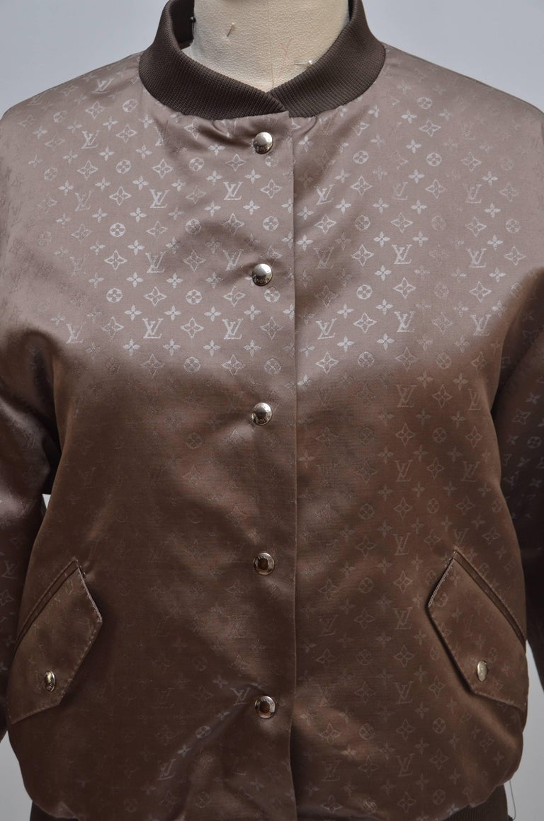 Louis Vuitton Silk Monogram Bomber Jacket Size 38,  New In New Condition For Sale In Hollywood, FL