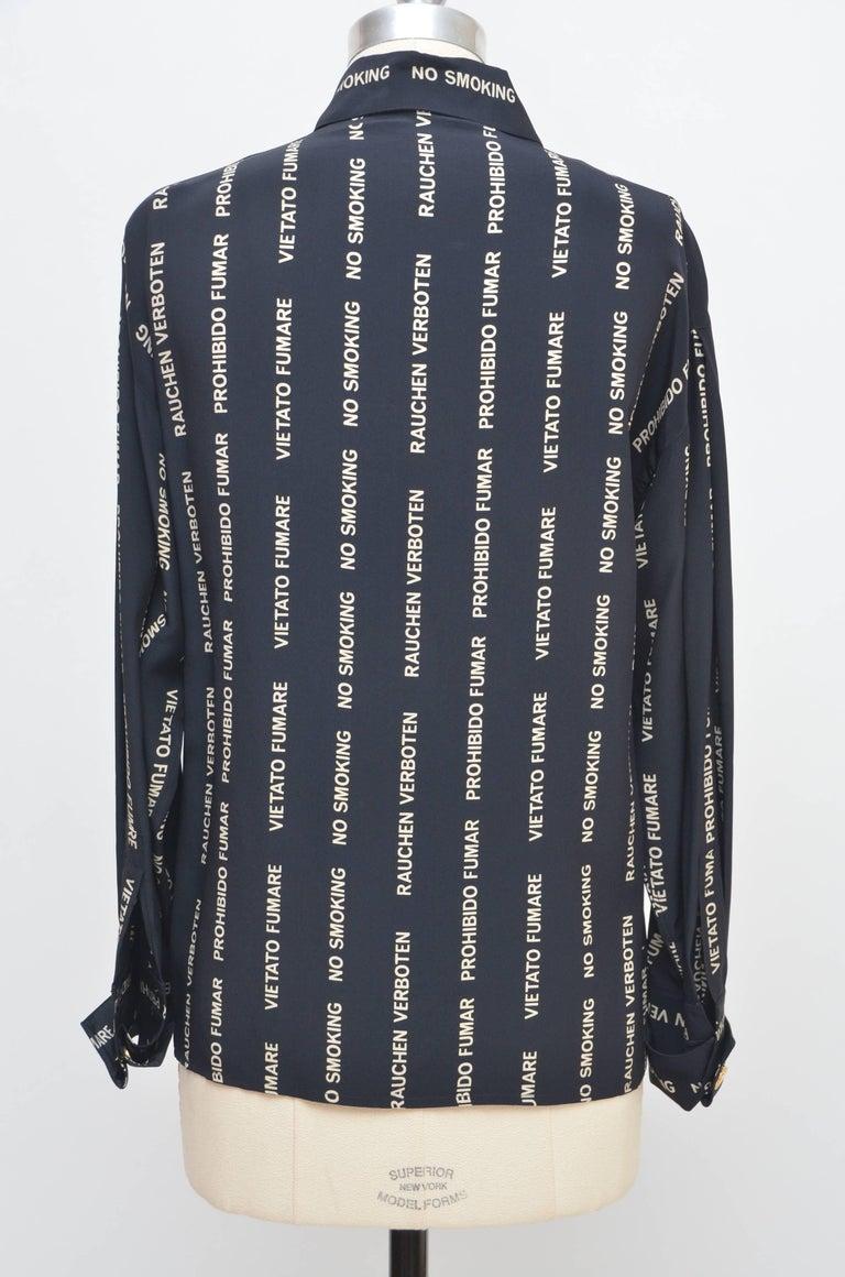 Black Chanel  NO SMOKING  Vintage Shirt