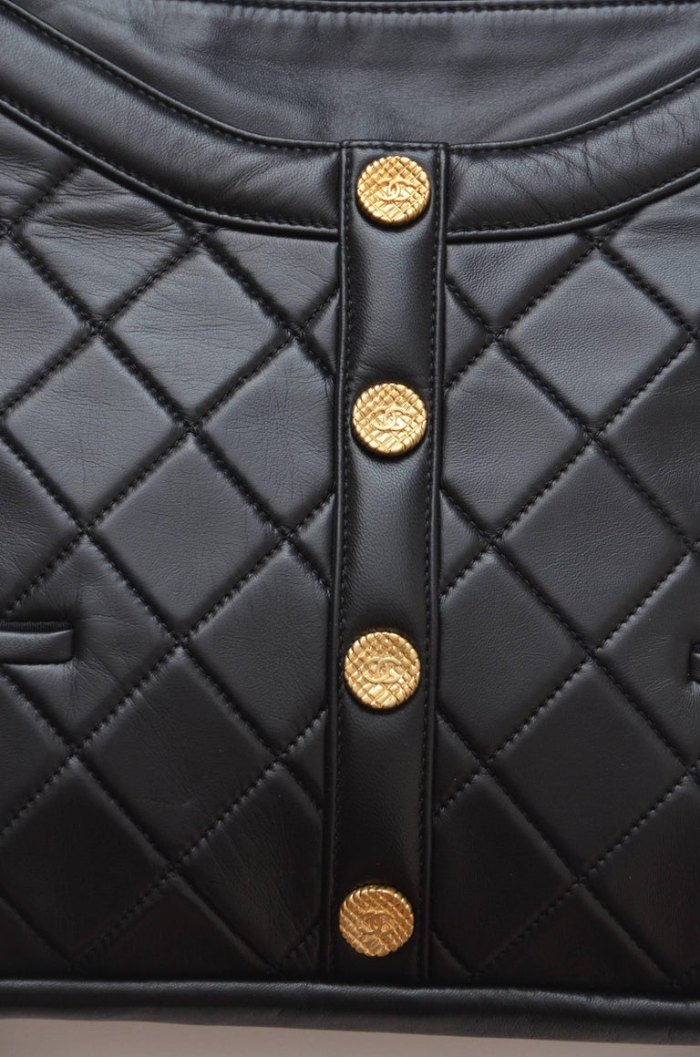 "Chanel ""Girl""  Black Jacket Black Lambskin Bag, 2015    For Sale 2"