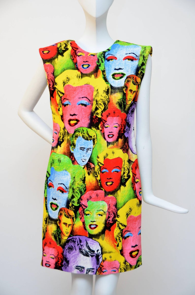 Sleeveless, power shoulder, mini dress, merging Gianni Versace's love of art and contemporary fashion in the Spring Summer 1991 collection. Pop Art SS'91 print Sleeveless,Power shoulders,V-neck back Mini length,'Versace Tribute' label 2018