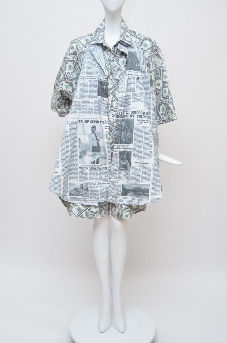Balenciaga Money $$ Print Shirt  Oversized  Size 40  NEW For Sale 3