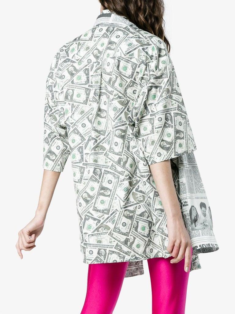 Gray Balenciaga Money $$ Print Shirt  Oversized  Size 40  NEW For Sale