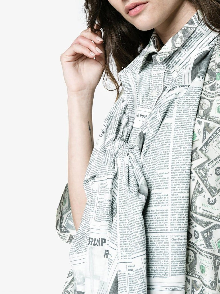Balenciaga Money $$ Print Shirt  Oversized  Size 40  NEW In New Condition For Sale In Hollywood, FL