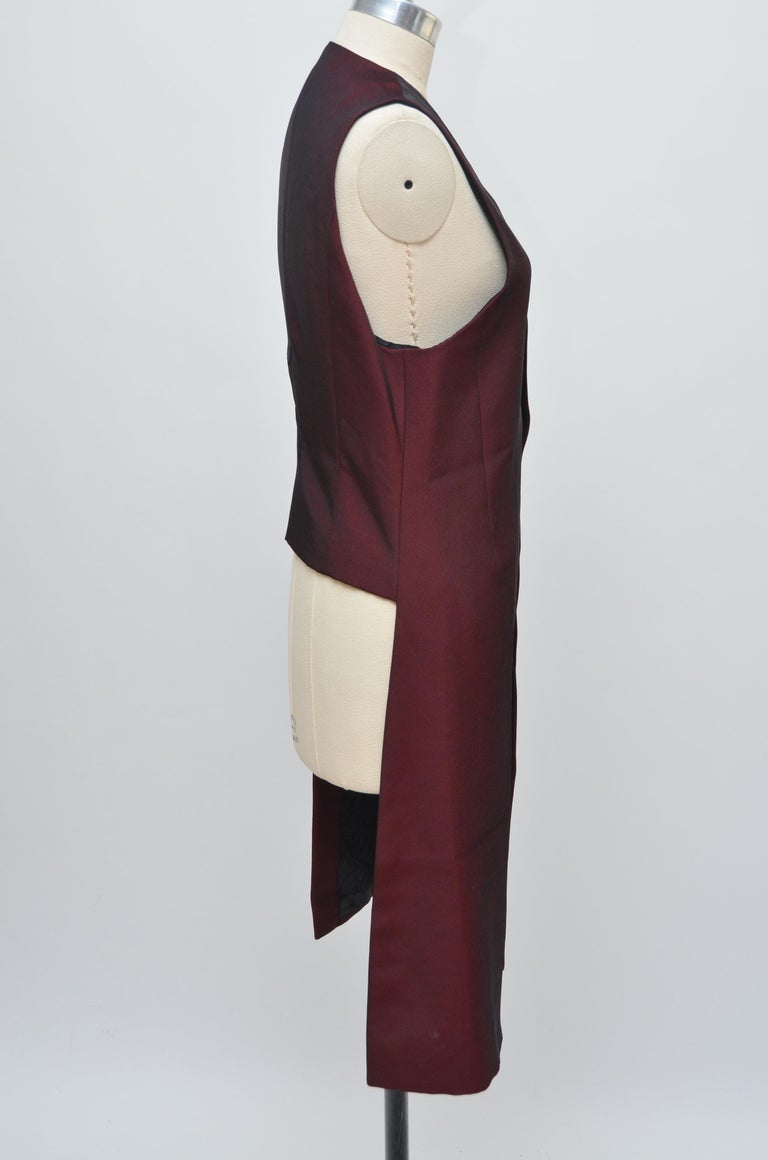 Alexander McQueen Vintage Burgundy Long Embroidered Vest Jacket   In Excellent Condition For Sale In Hollywood, FL