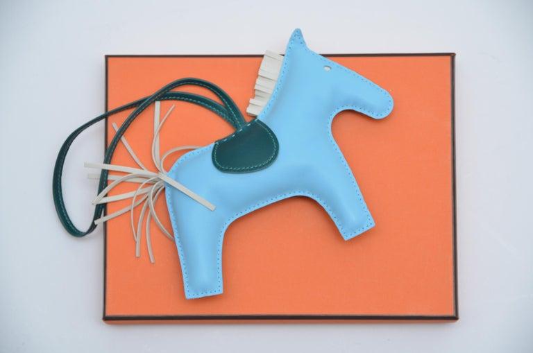 Blue Hermes Rodeo Bag Charm GM  Celeste Craie Rodeo Horse  NEW For Sale