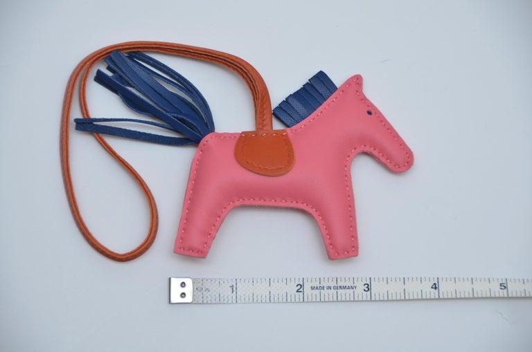 HERMES Milo Lambskin PM Rodeo Rose Azalee/Bleu  Handbag Charm Horse  NEW with box. Made in France.  FINAL SALE.