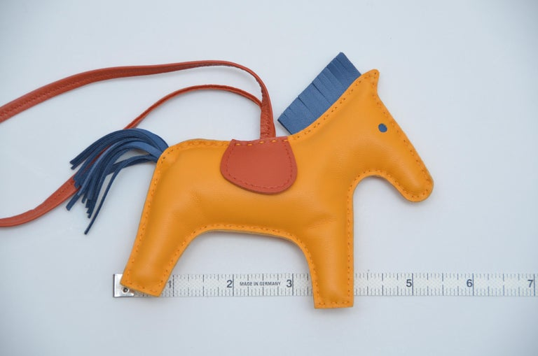 Orange Hermes Rodeo Bag Charm GM Jaune Blue Bleu Rodeo Horse  NEW For Sale